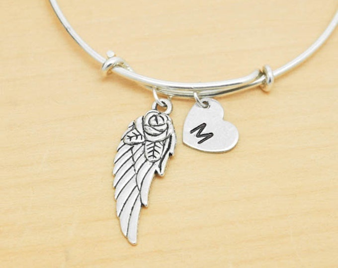 Feather Bangle, Sterling Silver Bangle, Feather Bracelet, Bridesmaid Gift, Personalized Bracelet, Charm Bangle, Initial Bracelet
