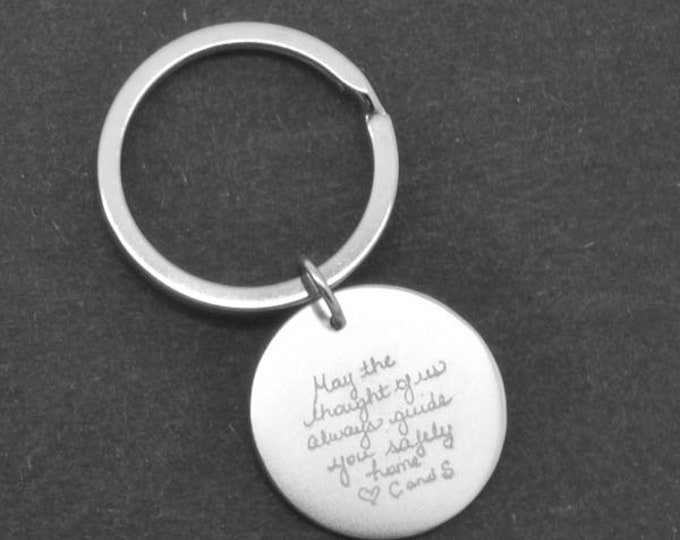 Handwriting Keychain, Handwriting Jewelry, Engraved Necklace, Engraved Jewelry, Personalized Necklace, Bridesmaid Gift, Best Friend, Sister