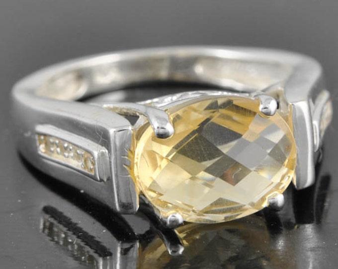 Citrine ring, sterling silver ring, gemstone ring, oval, yellow, november birthstone ring