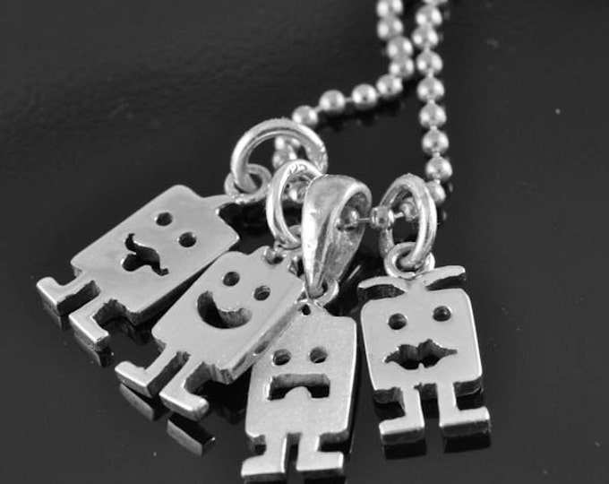 Create your own face, custom personalized pendant, sterling silver pendant, letter, name, personalized pendant, alphabet , monster, initial