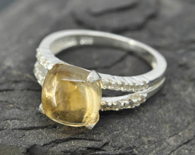 Citrine ring, sterling silver ring, gemstone ring, yellow, november birthstone, birthstone ring, one of a kind