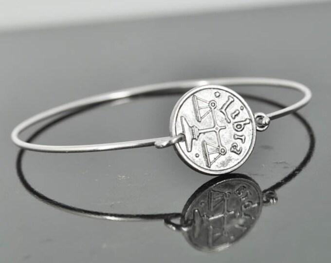 Zodiac Bangle, Sterling Silver Bangle, Zodiac Bracelet, Stackable Bangle, Libra, Bridesmaid Bangle, Bridesmaid jewelry, Bridal Bracelet
