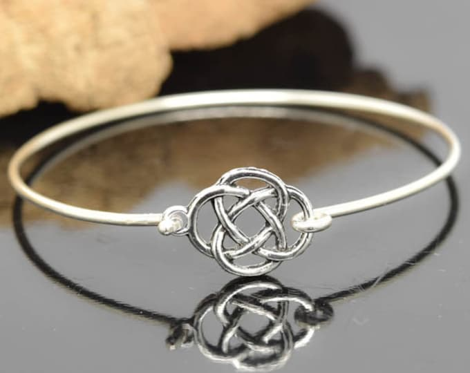 Knot Bangle, Sterling Silver Bangle, Knot Bracelet, Stackable Bangle, Charm Bangle, Bridesmaid Bangle, Bridesmaid jewelry, Bridal Bracelet