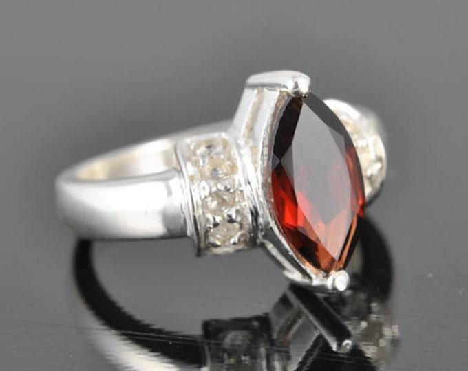 2 ct Garnet ring, January birthstone, gemstone ring, sterling silver ring, cocktail ring, statement ring, engagement ring
