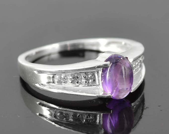 Amethyst Ring, 0.9 ct, Purple, Oval Cut, Birthstone Ring, February, Gemstone Ring, Sterling Silver Ring, Solitaire Ring, Statement Ring