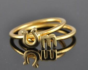 10K Gold Horseshoe Ring, stacking ring, lucky ring, good luck ring, gold ring