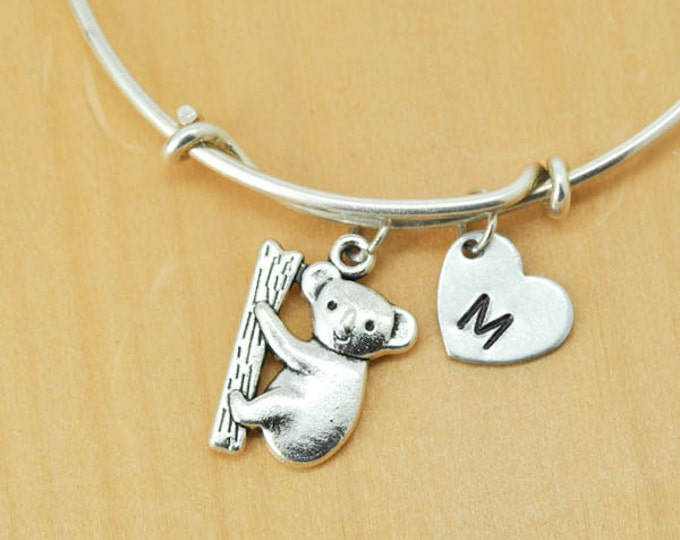 Koala Bangle, Sterling Silver Bangle, Koala Bracelet, Bridesmaid Gift, Personalized Bracelet, Charm Bangle, Monogram, Initial Bracelet