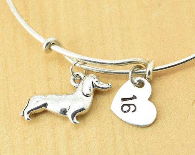 Dachshund Bangle, Sterling Silver Bangle, Dachshund Bracelet, Expandable Bangle, Personalized Bracelet, Charm Bangle, Initial Bracelet