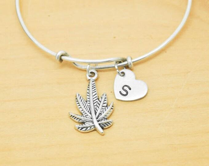 Marijuana Bangle, Sterling Silver Bangle, Marijuana Bracelet, Bridesmaid Gift, Personalized Bracelet, Charm Bangle, Initial Bracelet