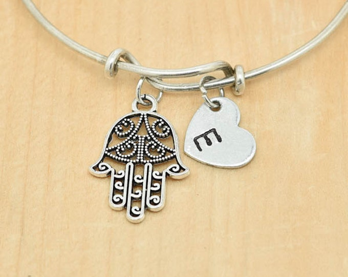 Hamsa Bangle, Sterling Silver Bangle, Charm, Bridesmaid Gift, Hamsa Jewelry, Hamsa Charm, Evil Eye Bangle, Bangle Bracelet, Star of David