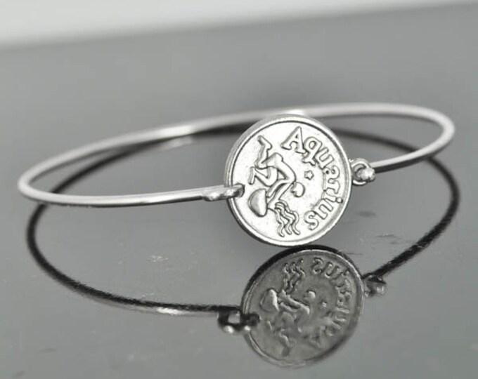 Zodiac Bangle, Sterling Silver Bangle, Zodiac Bracelet, Stackable Bangle, Aquarius, Bridesmaid Bangle, Bridesmaid jewelry, Bridal Bracelet