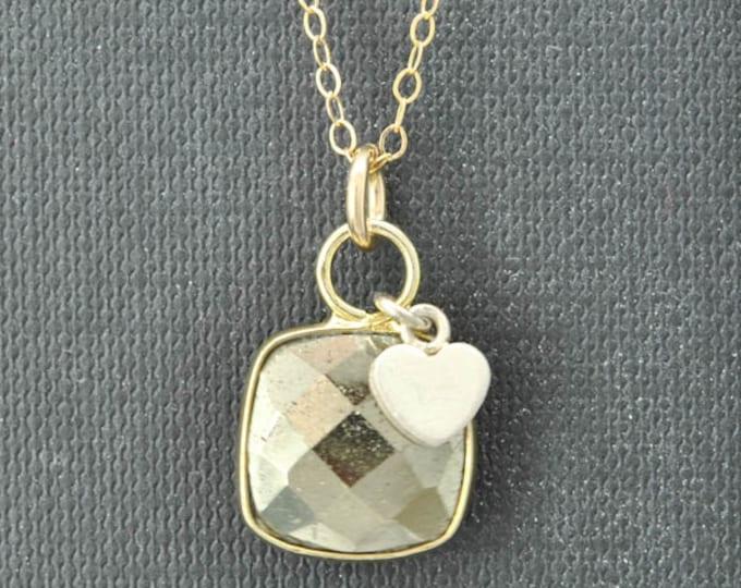 Hematite Necklace, 14k Gold Filled Chain, Bezel set Necklace, Gemstone Necklace, Hematite pendant