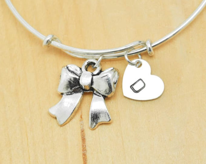 Bow Bangle, Sterling Silver Bangle, Adjustable Bangle, Expandable Bangle, Initial Bangle, Personalized Bangle, Charm Bangle, Monogram Bangle