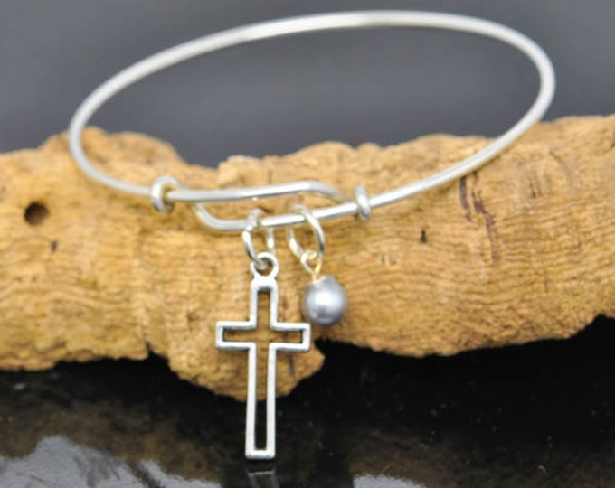 Cross Bangle, Charm, Cross, Pearl Bangle, Baby Bangle, Personalized Bracelet, Charm Bangle, Bridesmaid Gift, Initial Bracelet, Monogram