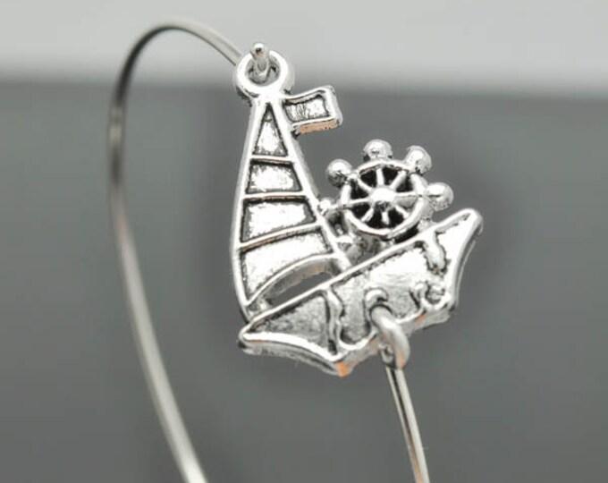 Boat Bracelet, Ship Bangle, Sterling Silver Bangle, Stackable Bangle, Anchor Bangle, Bridesmaid Bangle, Bridesmaid jewelry, Bridal Bracelet