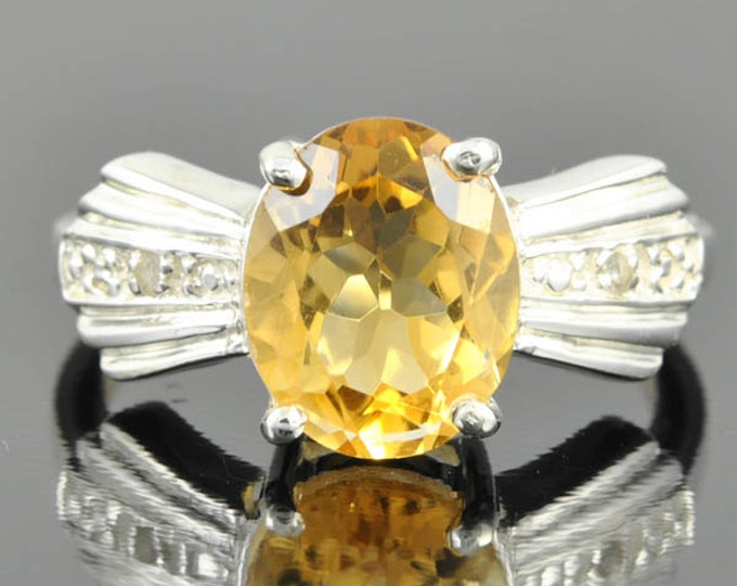 Citrine ring, sterling silver ring, gemstone ring, oval, yellow, november birthstone
