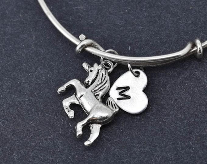 Unicorn Bangle, Sterling Silver Bangle, Unicorn Bracelet, Bridesmaid Gift, Personalized Bracelet, Charm Bangle, Monogram, Initial Bracelet