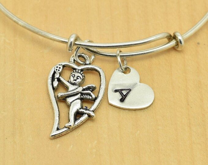 Heart Bangle, Sterling Silver Bangle, Adjustable Bangle, Bridesmaid Gift, Initial Bangle, Personalized Bangle, Charm Bangle, Monogram