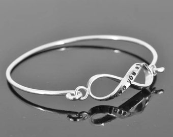 infinity bangle, personalized, ID bangle, initial, love, friendship, bracelet, cuff, sterling silver, best friend, sister, Bridesmaid Gift