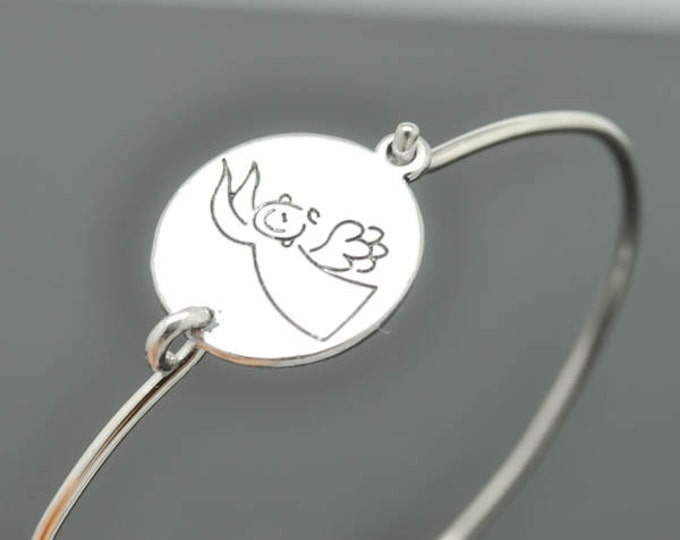 Angel Bangle, Guidance Angel for Wealth,  Sterling Silver Bangle, Angel Bracelet,  Angel Jewelry, Sterling Silver Bracelet