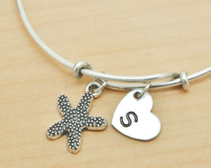 Star fish Bangle, Sterling Silver Bangle, Star fish Bracelet, Bridesmaid Gift, Personalized Bracelet, Charm Bangle, Initial Bracelet