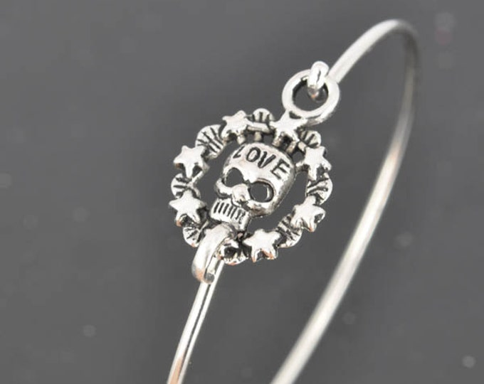 Skull Bangle, Sterling Silver Bangle, Skull Bracelet, Stackable Bangle, Charm Bangle, Bridesmaid Bangle, Bridesmaid jewelry, Bridal Bracelet