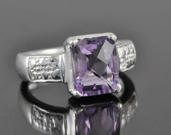 Amethyst Ring, 3.5 ct, Purple, Rect Cut, Birthstone Ring, February, Gemstone Ring, Sterling Silver Ring, Solitaire Ring, Statement Ring