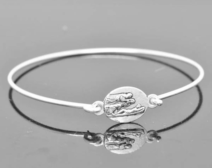 Miraculous Medal Bangle, Jesus Jewelry, Mary Bracelet, Sterling Silver Bangle, Sterling Silver Bracelet, Christian Jewelry, Catholic Jewelry
