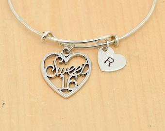 Sweet 16 Bangle, Sterling Silver Bangle, Sweet 16 Bracelet, Bridesmaid Gift, Initial Bangle, Personalized Bangle, Charm Bangle, Monogram