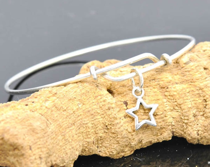Star Bangle, Sterling Silver Bangle, Adjustable Bangle, Bridesmaid Gift, Initial Bangle, Personalized Bangle, Charm Bangle, Monogram