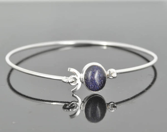Purple Sunstone bangle, Gemstone Bangle, gemstone Jewelry, gemstone Bracelet, Sterling Silver Bangle, Sterling Silver Bracelet