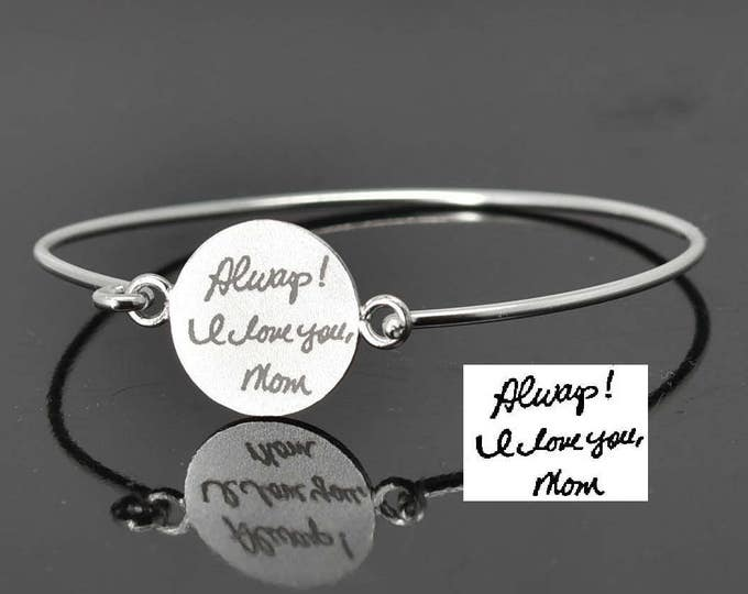 Handwriting bangle, Handwriting Jewelry, Fingerprint Bangle, Fingerprint Jewelry, Stacking Bangle, Engraved Bangle, Personalized Jewelry