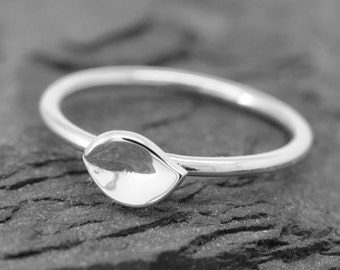 leaf ring, sterling silver ring, stackable ring, leaves ring