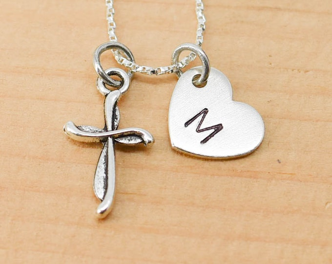 Cross Necklace, Cross Charm, Cross Pendant, Initial Necklace, Personalized Necklace, Sterling Silver, Charm Necklace, Bridesmaid Gift