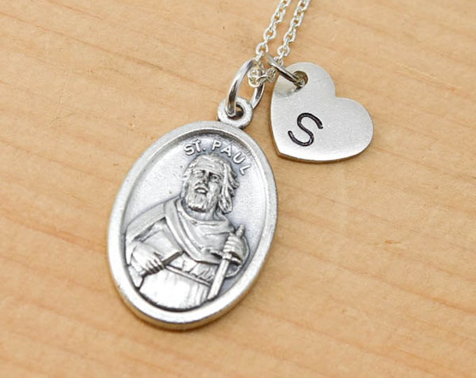 St Paul Necklace, St Paul Charm, Pendant, Initial Necklace, Personalized Necklace, Sterling Silver, Heart Charm Necklace, Bridesmaid Gift