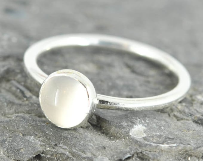 Moonstone ring, 6mm, gemstone ring, stacking ring, april birthstone ring, eco friendly ring, bridesmaid gift, best friend ring