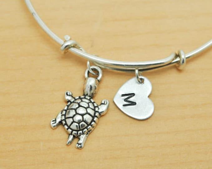 Turtle Bangle, Sterling Silver Bangle, Turtle Bracelet, Bridesmaid Gift, Personalized Bracelet, Charm Bangle, Monogram, Initial Bracelet