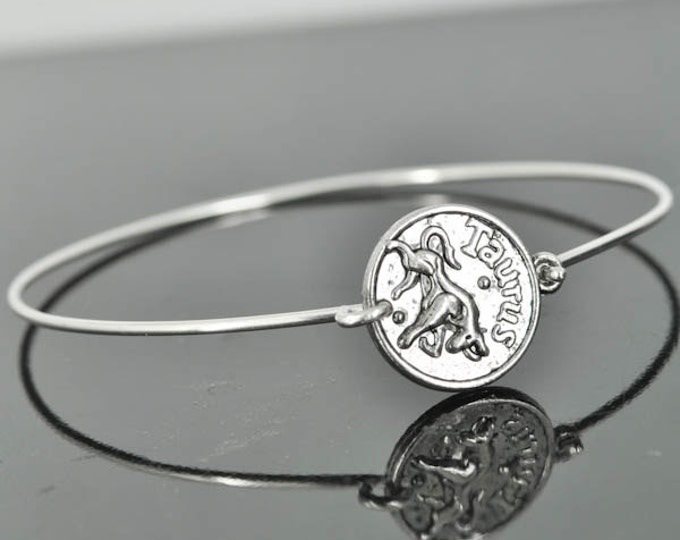 Zodiac Bangle, Sterling Silver Bangle, Zodiac Bracelet, Stackable Bangle, Taurus, Bridesmaid Bangle, Bridesmaid jewelry, Bridal Bracelet