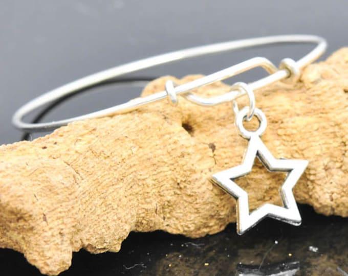Star Bangle, Sterling Silver Bangle, Adjustable Bangle, Bridesmaid Gift, Initial Bangle, Personalized Bangle, Charm Bangle, Monogram