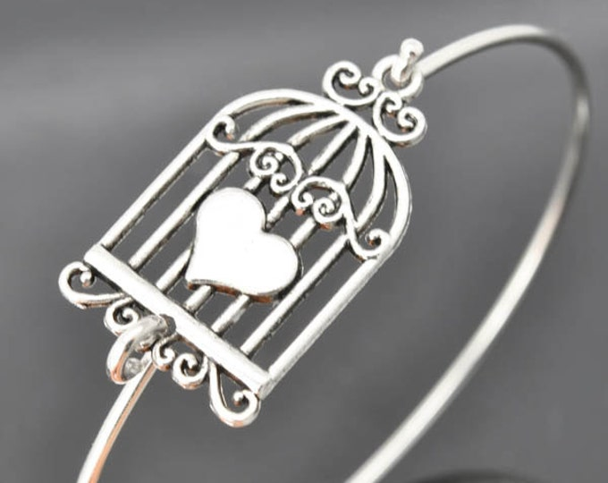 Birdcage Bangle, Sterling Silver Bangle, Birdcage Bracelet, Stackable Bangle, Charm, Bridesmaid Bangle, Bridesmaid jewelry, Bridal Bracelet