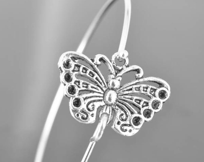 Butterfly Bangle, Sterling Silver Bangle, Butterfly Bracelet, Stackable Bangle, Bridesmaid Bangle, Bridesmaid jewelry, Bridal Bracelet