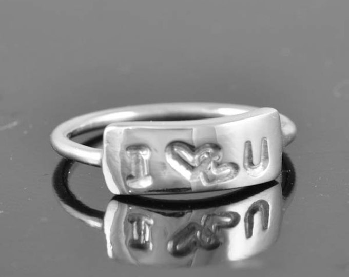 Bar ring, I <3 U, I love you, personalized, message, name, handstamped, heart,