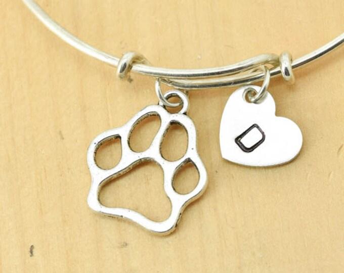 Dog Paw Bangle, Sterling Silver Bangle, Dog Paw Bracelet, Bridesmaid Gift, Personalized Bracelet, Charm Bangle, Initial Bracelet, Monogram