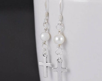 cross earrings, silver earrings, pearl earrings, sterling silver earrings, earrings, drop, dangle, hanging, christian, catholic