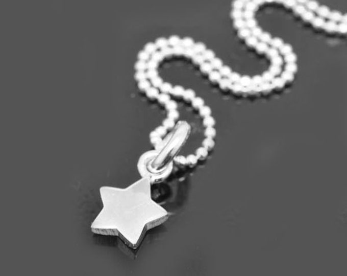 star necklace, sterling silver necklace, baby star necklace, star charm, wish star