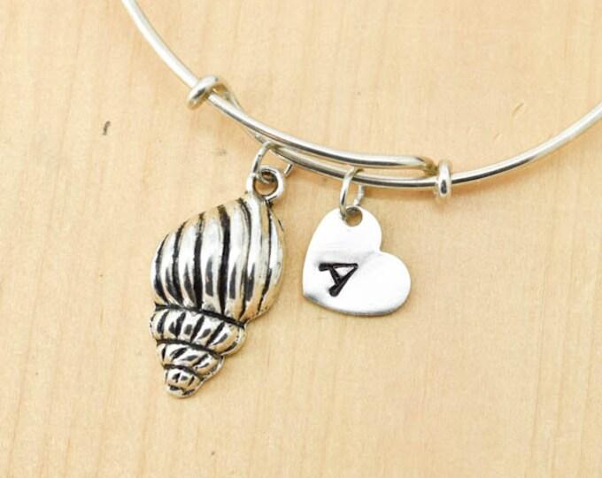 Shell Bangle, Sterling Silver Bangle, Shell Bracelet, Bridesmaid Gift, Personalized Bracelet, Charm Bangle, Monogram, Initial Bracelet
