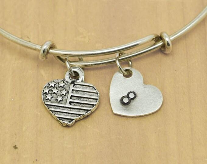 Love Heart Bangle, Sterling Silver Bangle, Adjustable Bangle, Bridesmaid Gift, Initial Bangle, Personalized Bangle, Charm Bangle, Monogram