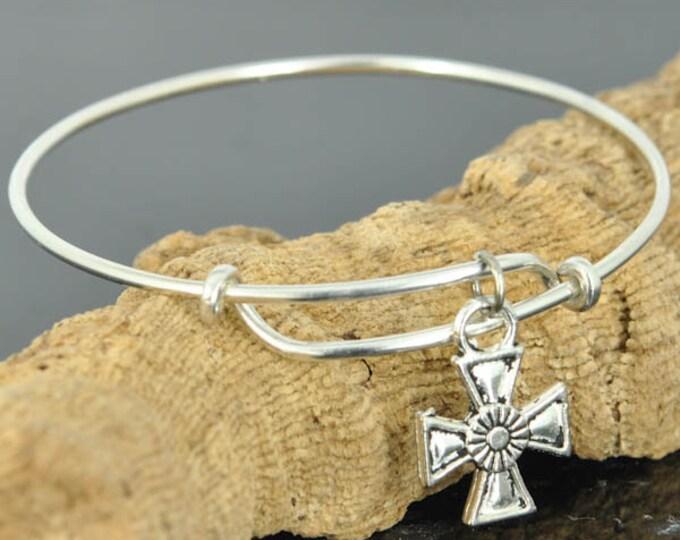 Cross Bangle, Sterling Silver Bangle, Cross Jewelry, Cross Bracelet, Sterling Silver Bracelet, Christian Jewelry, Catholic Jewelry