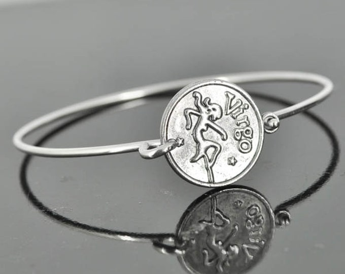 Zodiac Bangle, Sterling Silver Bangle, Zodiac Bracelet, Stackable Bangle, Virgo, Bridesmaid Bangle, Bridesmaid jewelry, Bridal Bracelet