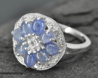Kyanite ring, sterling silver ring, cabochon, blue, floral design, one of a kind